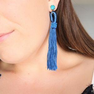 Jewelry - Blue Tassel Thread & Bead Earrings